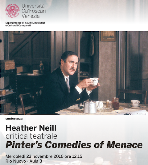 Poster for Heather Neill speaking on Harold Pinter in Venice