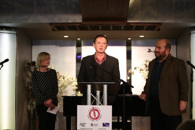 David Lan receives Critics Circle Theatre Award with Heather Neill and Mark Shenton