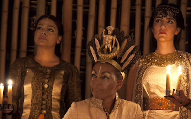Ayesha Dharker as Aumerle, Adjoa Andoh as Richard II and Leila Farzad as Queen Isabel